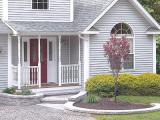 front walkway with beds outlined in block